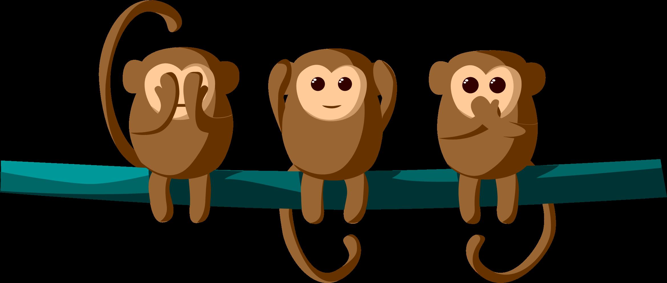 image free stock Hear clipart. See speak monkeys big