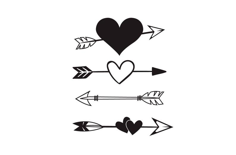 vector black and white stock Heart and arrow clipart. Svg tribal boho wall.