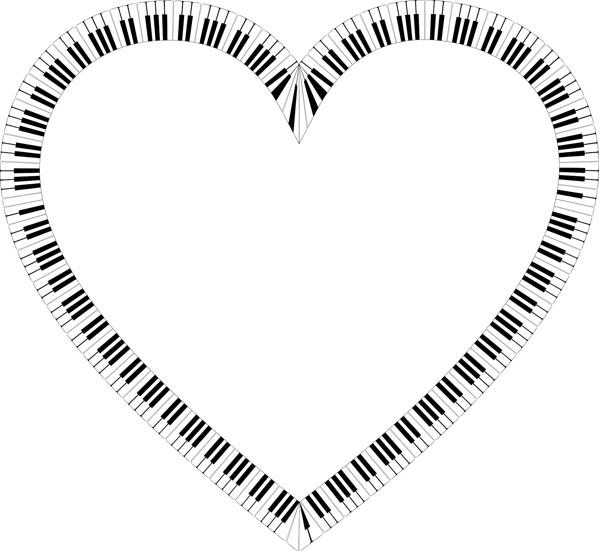 clipart freeuse stock Piano keyboard clipart. Free keys heart shape.