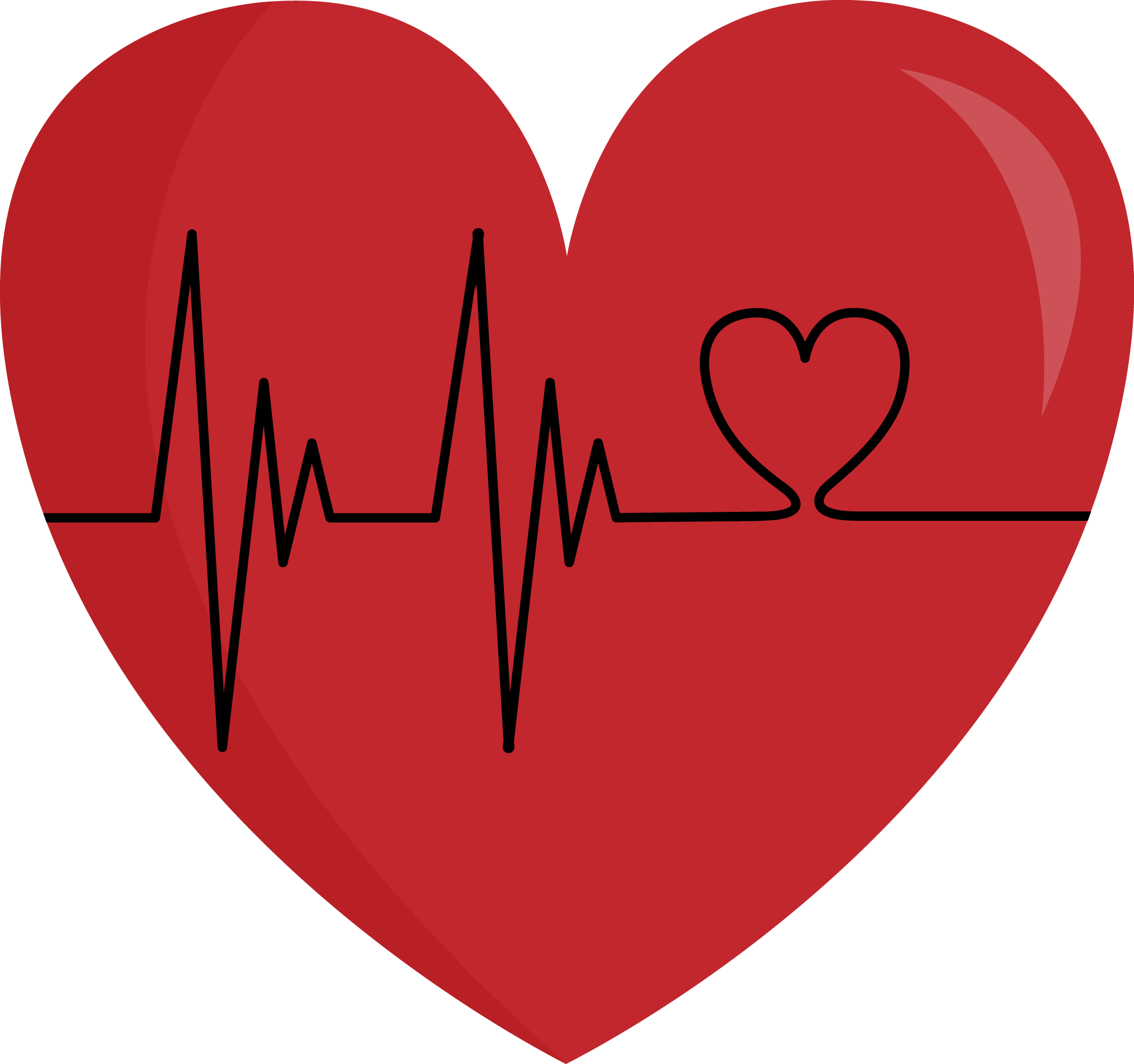 black and white stock heart with heartbeat clipart #64688871