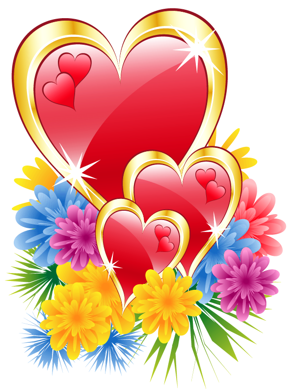 graphic free download Valentine Hearts with Flowers PNG Clipart Picture