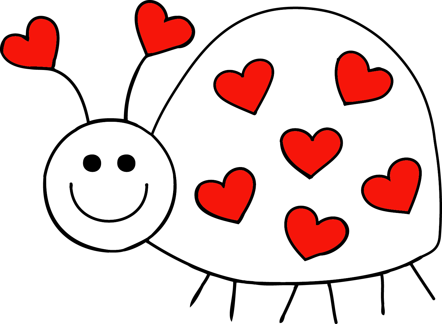 png free stock Hearts in a row. Bug clipart black and white