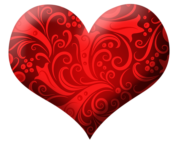jpg Red Heart with Ornaments PNG Clipart Picture