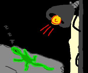 jpg library Lizard sunbathing under lamp. Heat drawing.