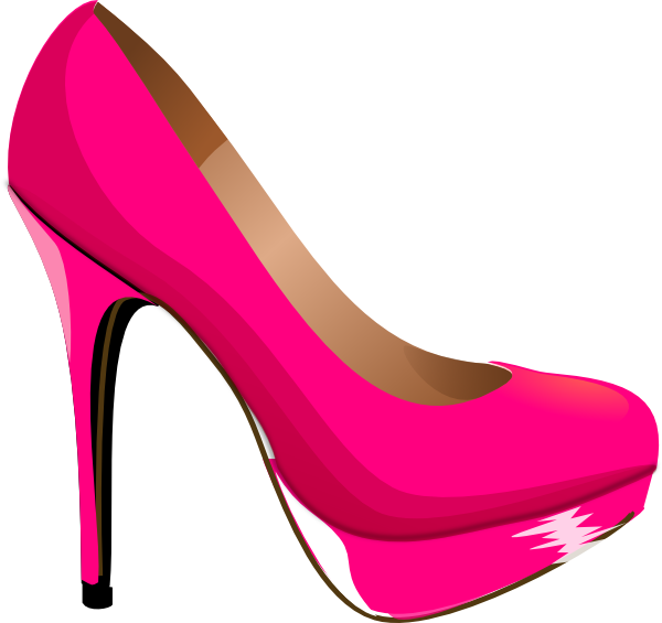 black and white kids pink heels clip art
