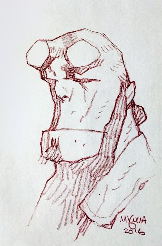 vector free Hellboy drawing head. Sketch by mike mignola