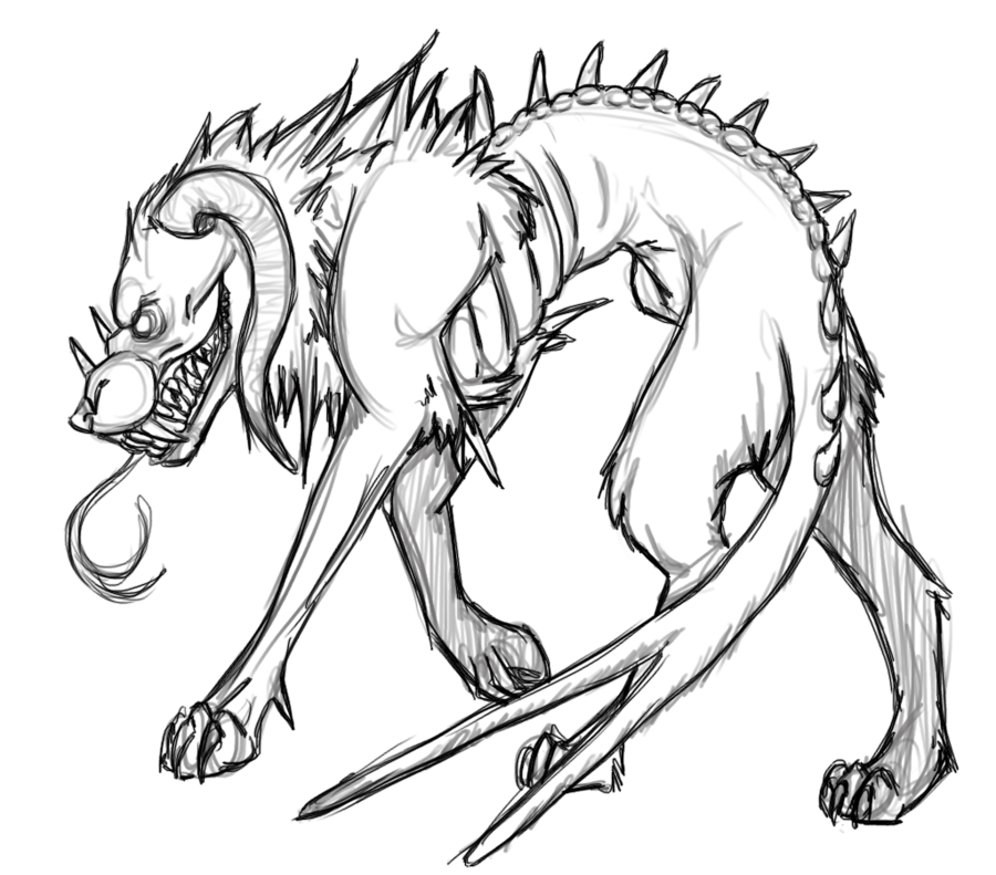 vector transparent library Hellhound Sketch