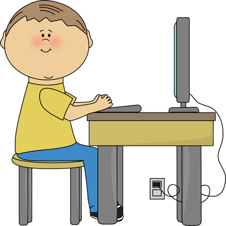 image Lab results clipart. Student using computer clip