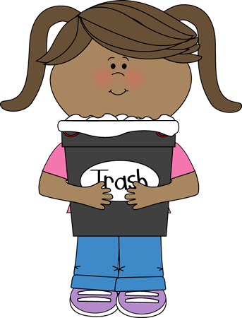 svg royalty free stock Children clipart backpack. Girl classroom trash helper.