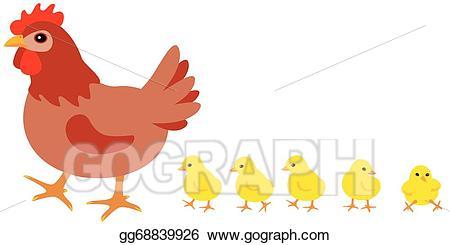 jpg freeuse library Eps illustration vector gg. Hen and chicks clipart.
