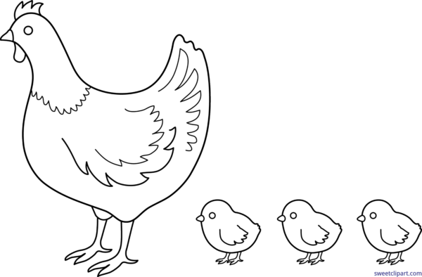 picture royalty free Chicken black and white clipart. Hen clip illustration stock