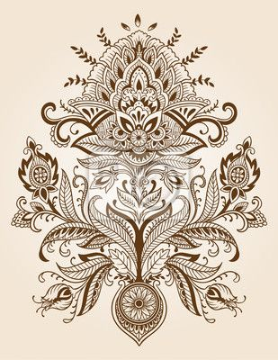 clip art royalty free Henna Paisley Lace Flower Vector Wall Mural