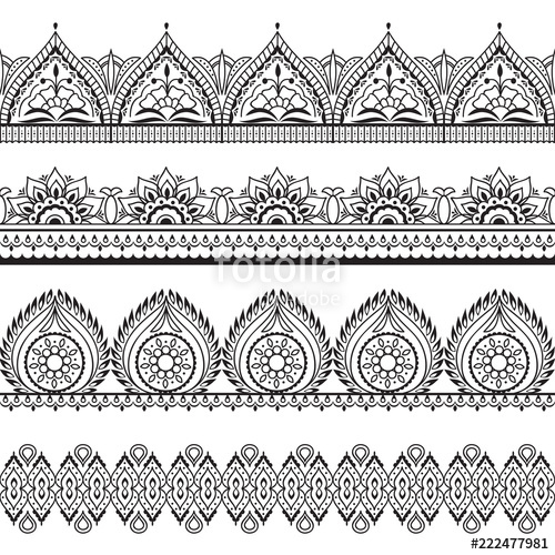 image library download Mehndi seamless borders
