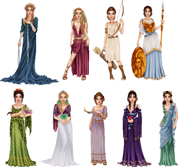 graphic library stock Greek Goddesses by