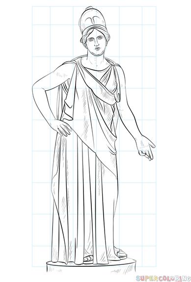 graphic free download How to draw Athena Greek goddess