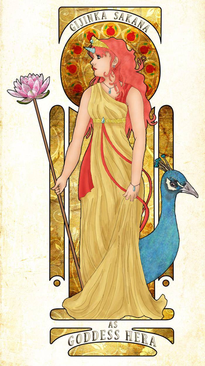 picture library download Gijinka sakana as goddess. Hera drawing staff