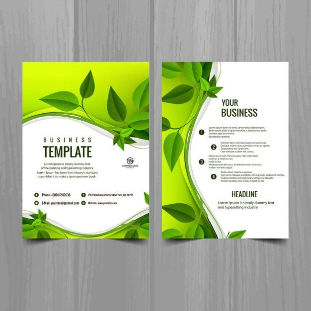 picture transparent download Brochure template with leaves Free Vector