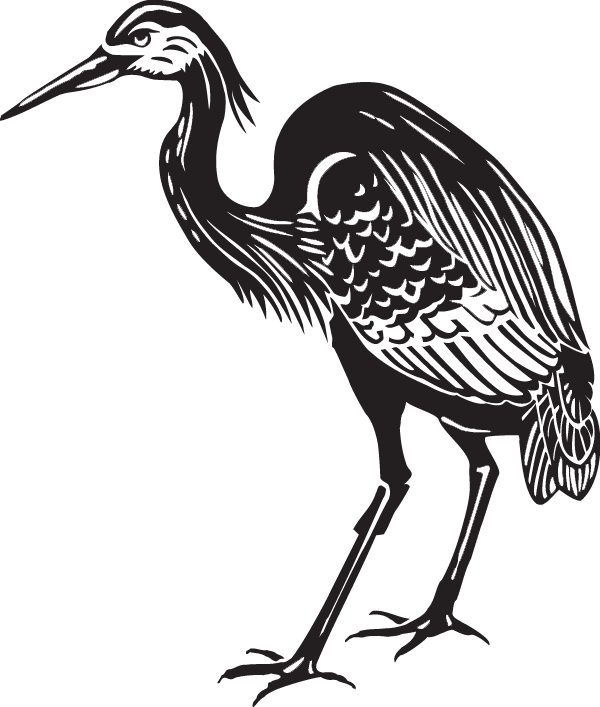 clipart black and white download Great Blue Heron Decal