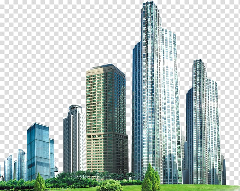 graphic freeuse stock High clipart business building. Rise buildings near green