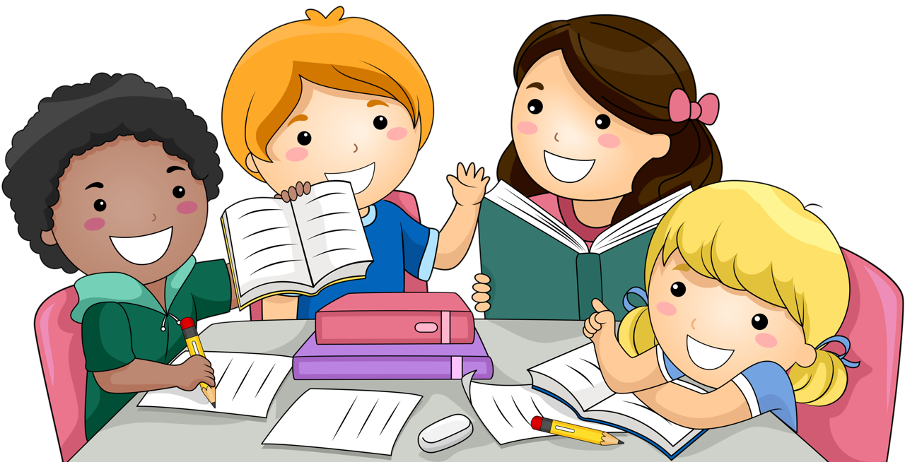 clip transparent library Kids studying clipart.  png clip art