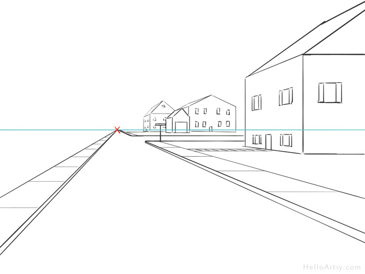download Drawing perspectives road. One point perspective step