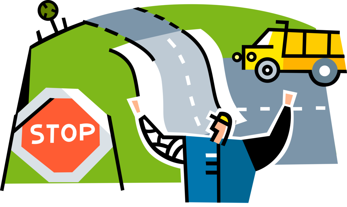 vector freeuse stock Highway Construction Worker Directs Traffic