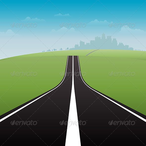 clip art freeuse Vector illustration of a long road to the great city
