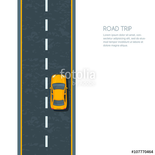 banner transparent library Vector illustration of highway and moving yellow car