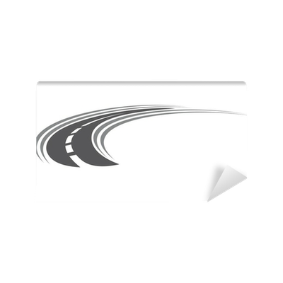 clipart Curving tarred road or highway icon Wall Mural