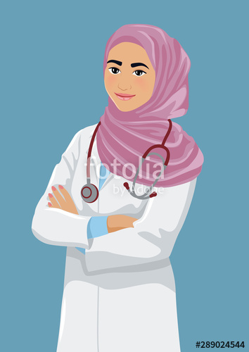 clipart black and white download Vector doctor hijab. Smiling young muslim female
