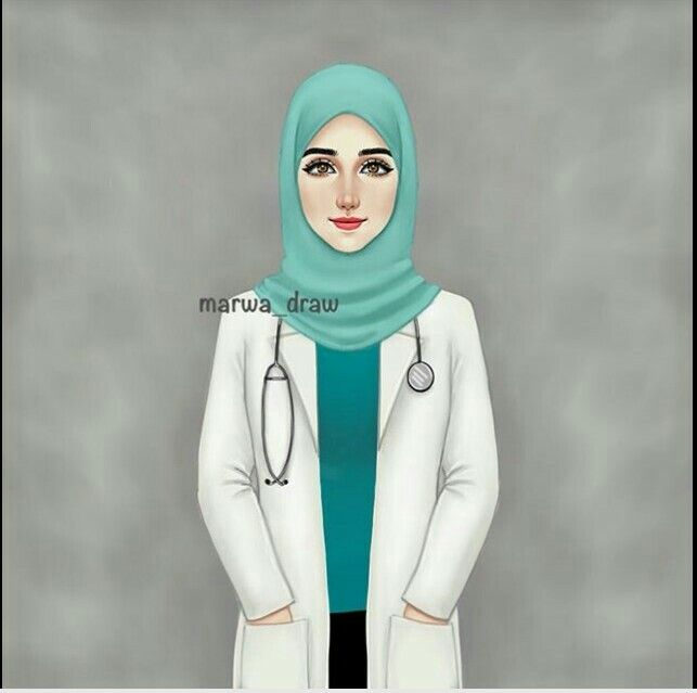 image transparent stock My sister maroua draw. Vector doctor hijab