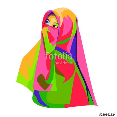 clipart library stock Beautiful girl illustration with. Hijab vector pop art