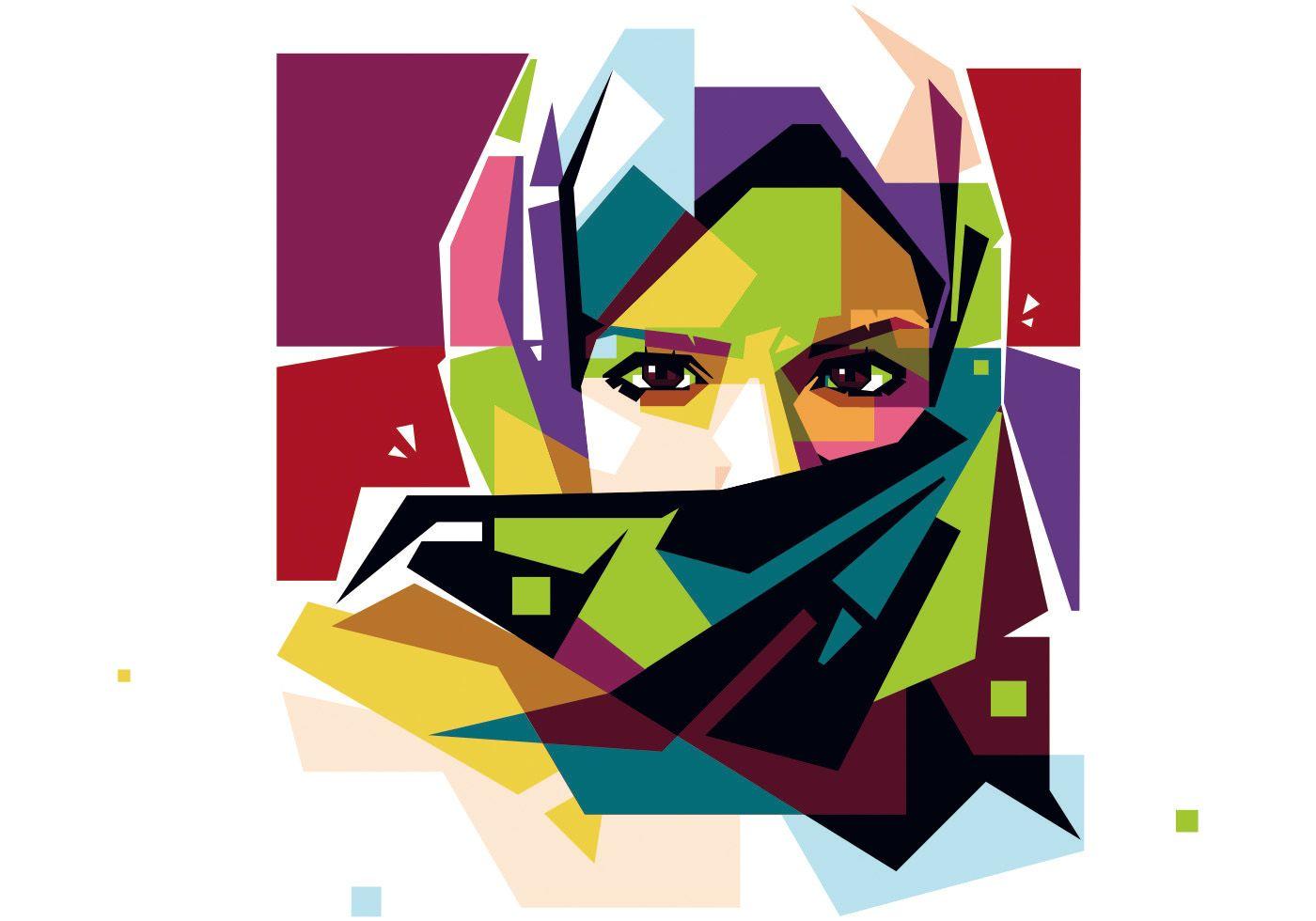 svg freeuse library Woman wpap muslim anime. Hijab vector pop art