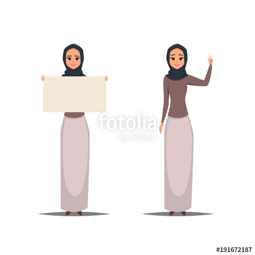 banner free download Cartoon business arab woman character with hijab