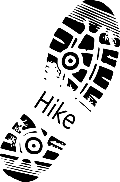 graphic library stock Hiking clip. Hike shoe print art