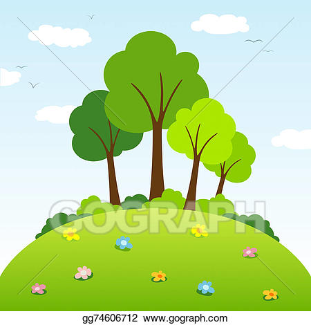 graphic royalty free download Hill clipart. Trees on a stock