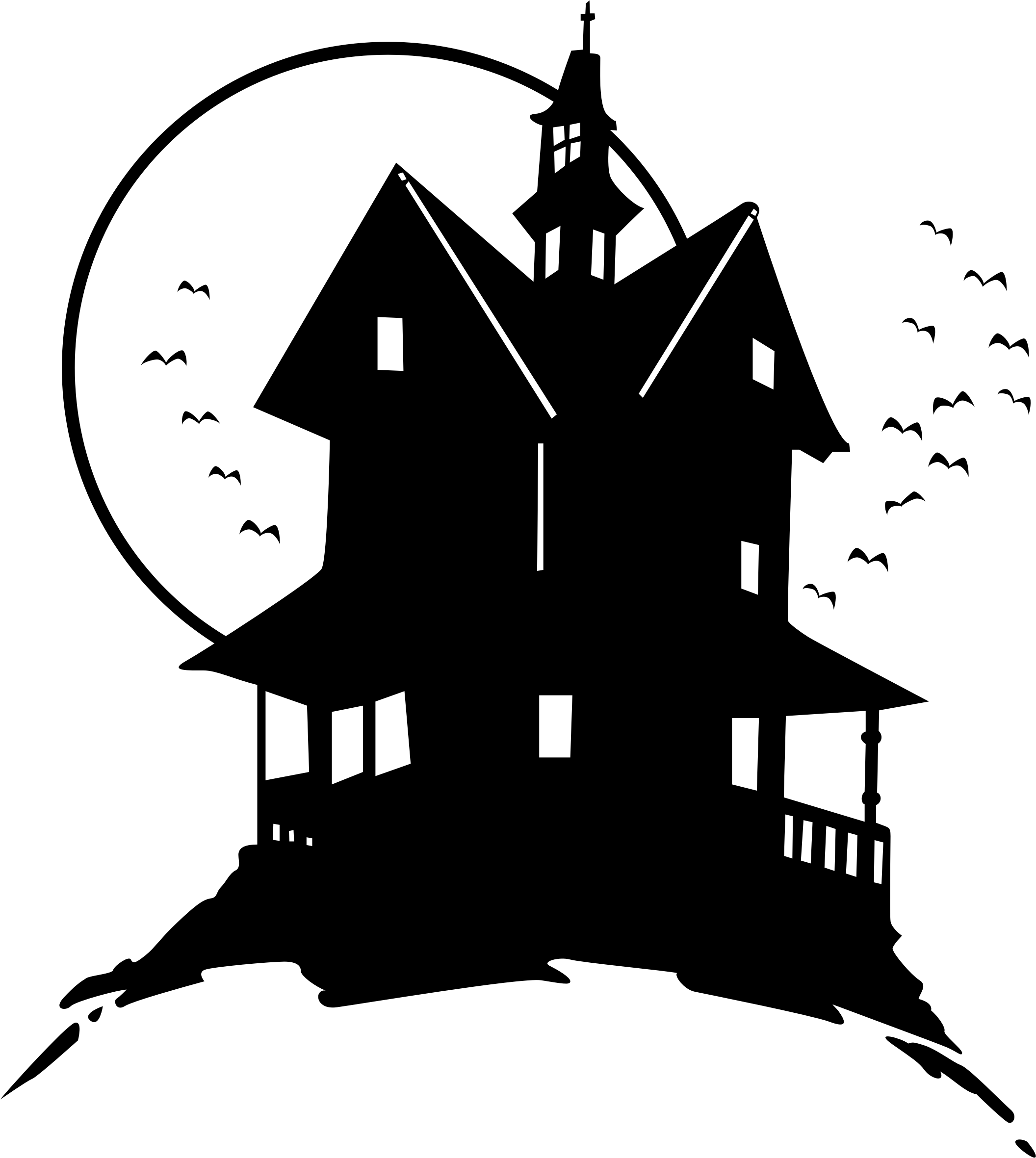 svg freeuse library House on the hill. Haunted clipart clip art