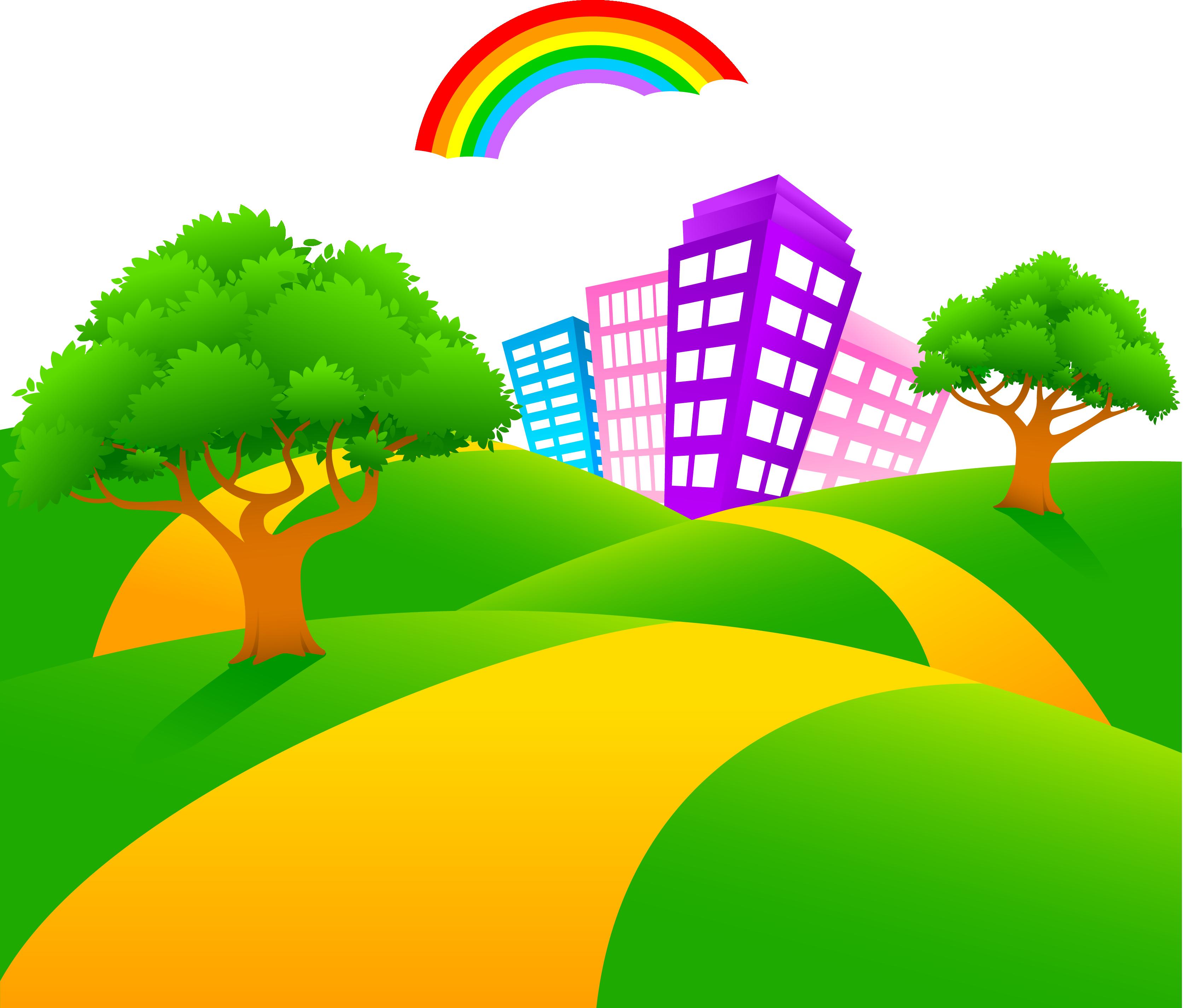 svg royalty free download Cartoon illustration city road. Vector cartoons landscape