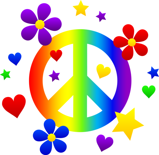 clip royalty free download Free clip art of a rainbow peace sign with hearts
