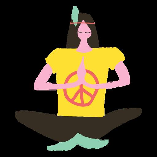 clip art stock Hippie vector. Man doing yoga doodle