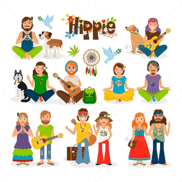 svg free download Hippie vector. People icon set