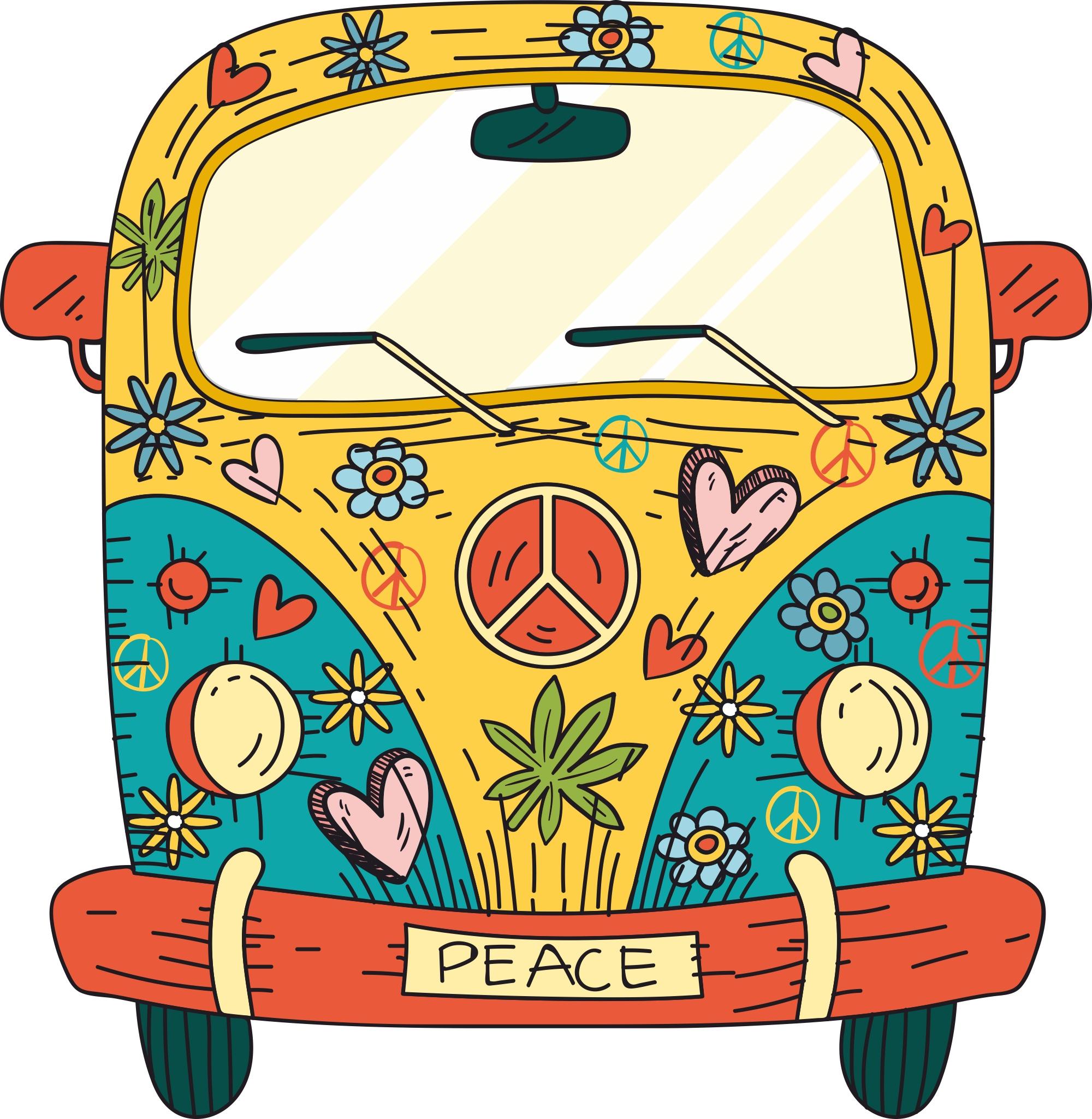 free Van t shirt design. Hippie vector
