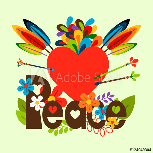 freeuse Hippie vector. Illustration with flowers feathers