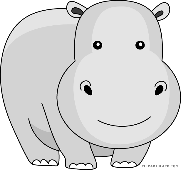png black and white download Cartoon clipartblack com animal. Hippo clipart