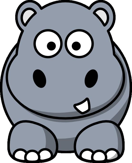 banner free Hippopotamus drawing. Clip art cartoon hippo.