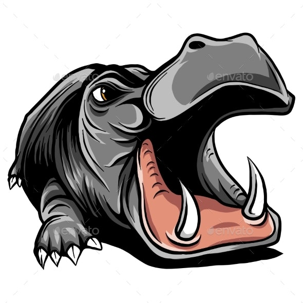 clip black and white Black and white linear. Hippo vector