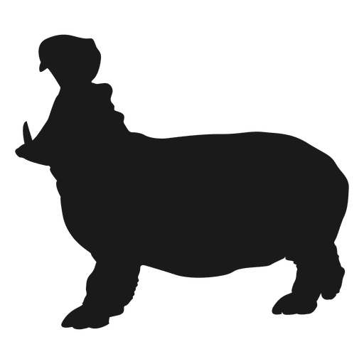 jpg black and white stock Hippo vector. Silhouette transparent png svg