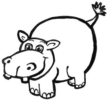 png transparent download Hippopotamus drawing. How to draw cartoon.