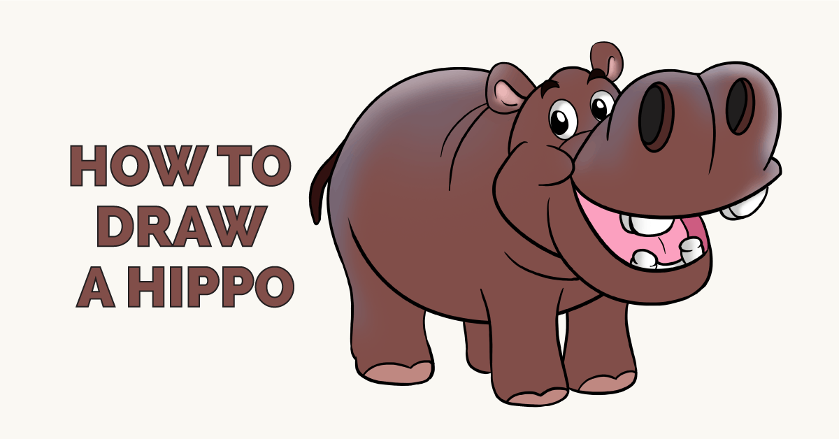 png free download How to draw a. Hippopotamus drawing.