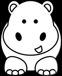 graphic black and white download Cartoon hippo clip art. Hippopotamus drawing.